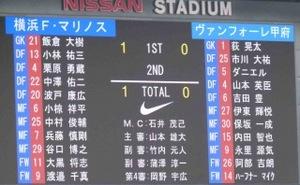 横浜F・マリノス vs ヴァンフォーレ甲府 1−0