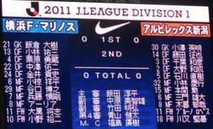 横浜F・マリノス vs アルビレックス新潟スタメン