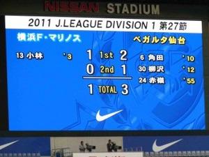 横浜F・マリノスvsベガルタ仙台 1−3