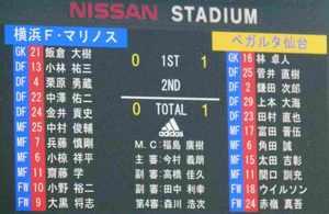 横浜F・マリノス vs ベガルタ仙台 0−1