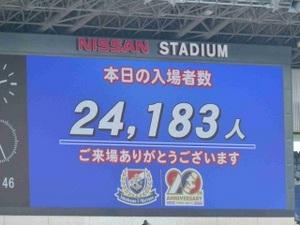 横浜F・マリノス vs コンサドーレ札幌 入場者数24183人
